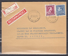 Aangetekende Brief Van Lauwe Naar Brugge - 1936-51 Poortman