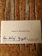 Erwin Rosenthal 1904/1991 Savant Orientaliste Britanique - Visitenkarten