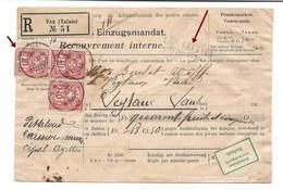 LES AGETTES PRÈS SION Rare Cachet Linéaire + VEX 1903, Recouvrement Interne, Einzugsmandat, VALAIS WALLIS, Stabstempel - Ganzsachen