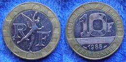 FRANCE - 10 Francs 1988 KM# 964.1 Bi-metallic Fifth Republic - Edelweiss Coins - Non Classificati