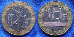 FRANCE - 10 Francs 1989 KM# 964.1 Bi-metallic Fifth Republic - Edelweiss Coins . - Non Classificati