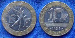 FRANCE - 10 Francs 1991 KM# 964.1 Bi-metallic Fifth Republic - Edelweiss Coins . - Non Classificati