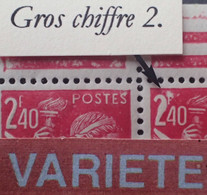 """R1098/90 - 1944 - TYPE IRIS - (PAIRE) N°654 TIMBRES NEUFS** CdF - BELLE VARIETE ➤➤➤ Gros Chiffre """" 2 """" - Abarten: 1941-44 Ungebraucht"""