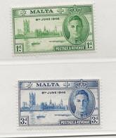Malta, 1946, SG 232 - 233, MNH - Malta (...-1964)