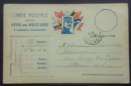 Carte De Franchise Militaire Illustrée Joffre Et Drapeaux Du 135e Rgt D'Infanterie Vers Corné Maine Et Loire Oct 1915 - Tarjetas De Franquicia Militare