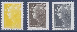 N° 4226 à 4228  Marianne De Beaujard , Faciale 0,01 0,05 Et 0,10 € - Nuovi