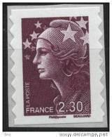 N° 491 (4478) Marianne De Beaujard Adhesif 2010  Faciale 2,30 € - Autoadesivi