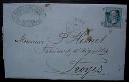 Paris 1868 Muller & Collet Fournitures Pour Pianos, Rue De Bondy, Oblitération étoile, Lettre Pour Troyes - 1849-1876: Periodo Clásico