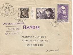 Lettre Enveloppe Voyagée Par Cie Gle Transatlantique Sur Le  Flandre 1955 Depart Guadeloupe - Passagiersschepen