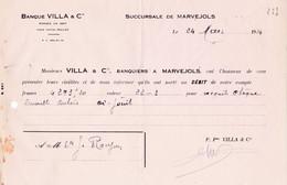 47-Banque Villa & Cie...Marjevols..(Lozère)..1934 - Banca & Assicurazione