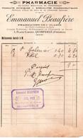 Facture 1912, Pharmacie Emmanuel Beaufrère, Quimperlé (eau De St Galmier Et Vittel) - 1900 – 1949