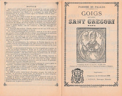 1898 GOIGS Del Glorios SANT GREGORI PAPA - PALALDA - Chant Religieux Catalan Avec Paroles Et Musique - Historische Documenten