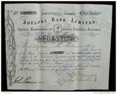 Adelphi Bank Limited 20 P. Sterling 1863 - Banque & Assurance