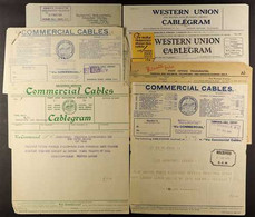 TELEGRAMS 1930s Little Pile Of Forms Containing Messages, Various Companies Incl. Commercial Cables, Western Union & Rad - Non Classificati