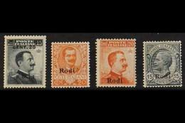RODI 1919-18 20c On 15c, 20c Orange, 20c Orange No Watermark & 15c Grey, Sassone 8/11, Mi 10X/13X, Good To Fine Mint (4  - Egeo