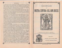 1899 GOIGS De NOSTRA SENYORA DEL BON SUCCES - Chant Religieux Catalan Avec Paroles Et Musique - Historische Documenten