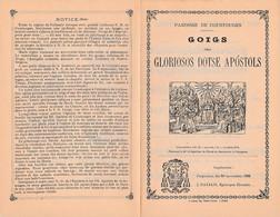 1898 GOIGS Dels GLORIOSOS DOTSE APOSTOLS - Chant Religieux Catalan Avec Paroles Et Musique - COUSTOUGES - Historische Documenten