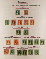 1861-1895 USED COLLECTION On Pages, Includes 1861-62 1d & 6d, 1863-71 1d & 6d (x4 Incl One Wmk Sideways), 1873 1d (x2),  - Grenada (...-1974)