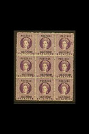 1881 ½d Deep Mauve, Block Of Nine With Large Printing Flaw On Top Right Stamp, SG 21, Good To Fine Mint. For More Images - Grenada (...-1974)