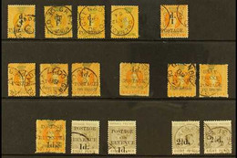 1886-91 FINE USED SURCHARGES - Group Incl. 1886 1d On 1½d SG 37, 1d On 1s (2) SG 38 (plus 1s Revenue Without Surcharge), - Grenada (...-1974)