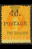 "1888 4d On 2s Orange, Variety ""upright D"", SG 41a, Fine Mint Og, Centred To Top. Scarce Stamp. For More Images, Please V - Grenada (...-1974)"