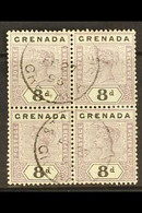 1895-99 8d Mauve And Black Key Plate, SG 54, Block Of Four With Neat St Georges 1896 Cds's, Scarce Multiple Of This Valu - Grenada (...-1974)