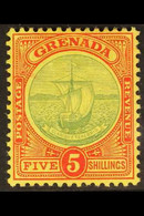 """1908-11 5s Green And Red On Yellow """"Badge Of The Colony"""", SG 88, Very Fine Mint. For More Images, Please Visit Http://ww - Grenada (...-1974)"""