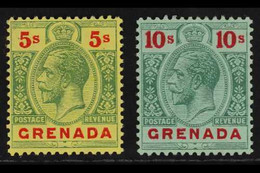 1913-22 5s Green & Red On Yellow And 10s Green & Red On Green Top Values, SG 100/01, Superb Mint, Very Fresh. (2 Stamps) - Grenada (...-1974)