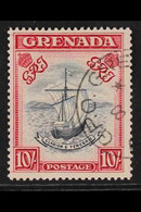 """1938 10s Slate Blue And Bright Carmine, """"Badge"""", SG 163b, Very Fine Used. RPS Cert. For More Images, Please Visit Http:/ - Grenada (...-1974)"""