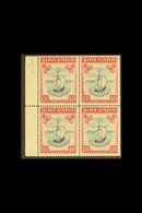 1943 10s Slate Blue And Bright Carmine, Narrow Frame, SG 163b, A Rare Left Marginal Block Of Four, Very Fine Mint, Three - Grenada (...-1974)