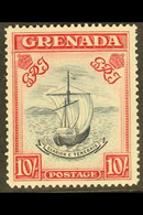 1943 10s Slate Blue And Bright Carmine, Narrow Frame, Perf 14, SG 163b, Very Fine Mint. For More Images, Please Visit Ht - Grenada (...-1974)