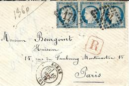 1875- Enveloppe  Recc. D'ARRAS ( Pas De Calais Affr. Bande De 3 N° 60 Oblit.  G C 174 - 1849-1876: Classic Period