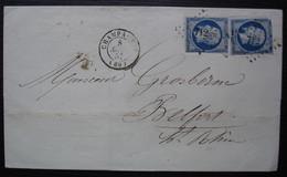 Champagney Haute Saône  Pc 712 1857 Lettre Pour Belfort Avec 2 N°14 - 1849-1876: Periodo Clásico