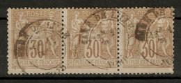 """BELLE OBLITERATION CAD """" GARE DE LILLE / NORD """" (VARIÉTÉ ? DATEUR SANS MILLESIME) Sur BANDE DE 3 TIMBRES SAGE N° 80 - 1876-1898 Sage (Tipo II)"""