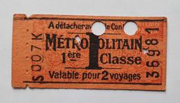 Ancien Ticket De Métro - Paris Métropolitain RATP - 1ère Classe - Lettre I - 1941 - Valable Pour 2 Voyages - Europa