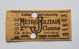 Ancien Ticket De Métro - Paris Métropolitain RATP - 2ème Classe - Lettre J - Valable Pour 2 Voyages - Europe