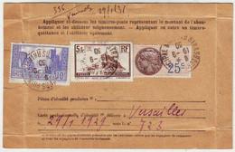 CARTE D' ABONNEMENT A LA POSTE RESTANTE , Mont St Michel Et La Rochelle Plus Fiscal Obl Strasbourg 1930 - 1877-1920: Période Semi Moderne