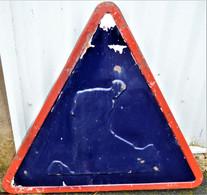 Rare Panneau émaillé Chantier Mobile Daté 17 Juillet 1957 De SCOTCHLITE NEUHAUS - Plaques émaillées (après 1960)