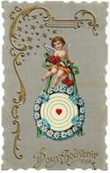 Carte En Relief Avec Un Ange Doux Souvenir Circulée En 1913 - Anges