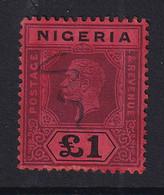 Nigeria: 1914/29   KGV    SG12b     £1   Deep Purple & Black/red  [Die II]        Used Fiscal? - Nigeria (...-1960)