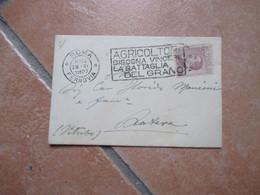 1927 Targhetta Roma AGRICOLTORI Bisogna Vincere La Battaglia Del Grano Biglietto Visita Timbro Arrivo - Marcofilía