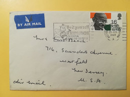 1969 BUSTA INTESTATA AIR MAIL GRAN BRETAGNA GREAT BRITAIN BOLLO MATHAMA GANDHI OBLITERE' RICHMOND - Brieven En Documenten