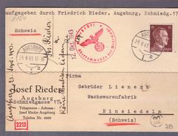 Carte Postale ʘ Augsburg 23.09.1943-> Einsiedeln- Zensur/censored/Censure D  München - Storia Postale