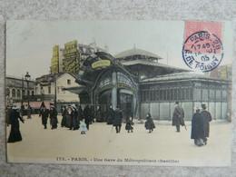 PARIS            UNE GARE DU METROPOLITAIN  ( BASTILLE )            ARCHITECTE  HECTOR GUIMARD    ART NOUVEAU - Metro, Stations