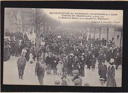 Troyes En Champagne, Manifestations Vignerons 1911, Manifestants Bd Danton - Troyes
