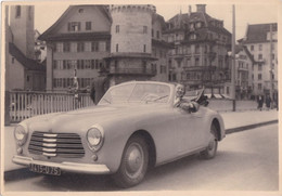 Grd Format Photo Originale Vintage Oldtimer Car Simca 8 Sport Voiture Jeune Femme Lucerne Arch. Janine Morand Versailles - Automobili