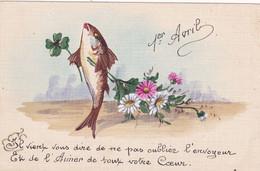 Fête - Voeux : 1er AVRIL : Poisson D' Avril : Toilée : Poisson Humanisé Portant Avec Fleurs : - 1 De April (pescado De Abril)