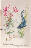 Fête - Voeux : 1er AVRIL : Poisson D' Avril : Poisson - Brochet Chassant Une Grenouille : Photochrom N° 438 Grand Format - 1 De April (pescado De Abril)