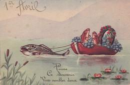 Fête - Voeux : 1er AVRIL : Poisson D' Avril : Poisson Humanisé Tirant Une Barque De Poissons Avec Fer à Cheval Et Fleur: - 1 De April (pescado De Abril)