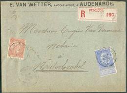 N°57-60 - 10 Et 25 Cent.FINES BARBESobl. ScAUDENARDEsur Lettre Recommandée Du 8 Mars 1897 Vers Nederbrakel., Via Bru - 1893-1900 Barba Corta